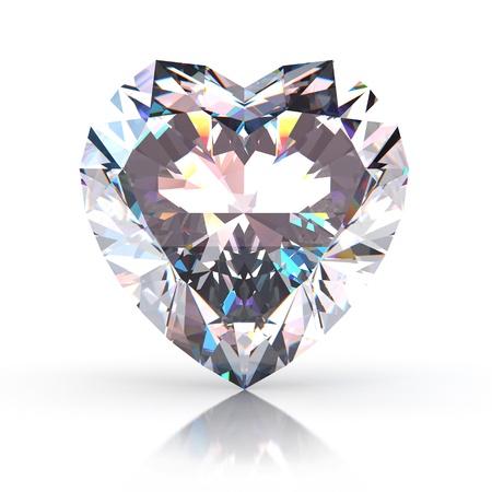 coeur diamant: Diamond coeur isol� sur fond blanc