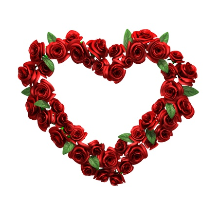 Red rose frame in form heart photo