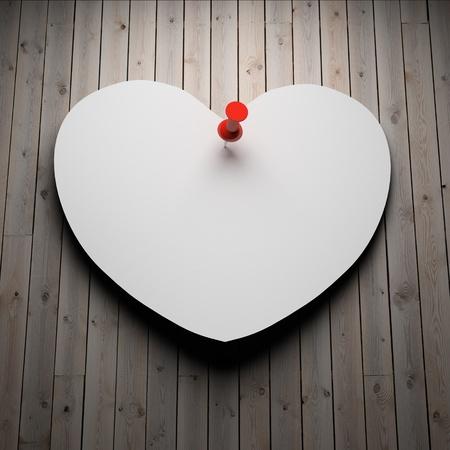 carta de amor: Coraz�n de papel en blanco sobre fondo de madera