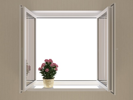 Opened plastic window in new room Stock Photo - 8679969