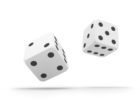 falling cubes: Falling dices. Game concept. Stock Photo