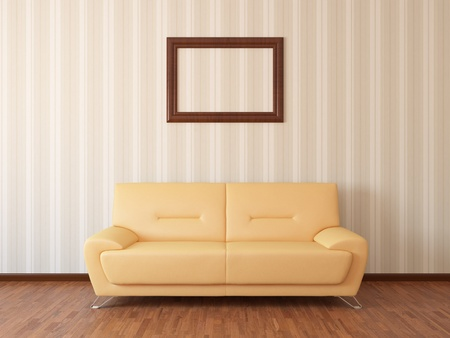 rest room: Sofa in rest room whit frame Stock Photo
