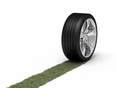 aluminum wheels: Green trace from a wheel. Ecological concept.