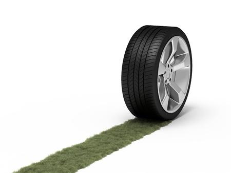 aluminum wheels: Traza verde de una rueda. Concepto ecol�gico.