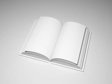 Blank open book on grey background photo