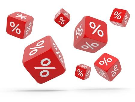 割引: パーセントの孤立した白い背景を持つ赤いキューブを落下