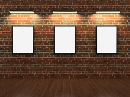 museum: Frames on brick wall Stock Photo