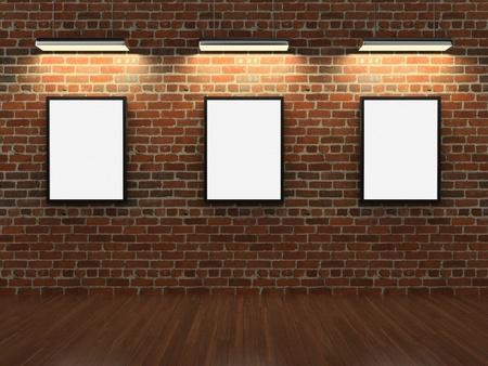 art museum: Frames on brick wall Stock Photo