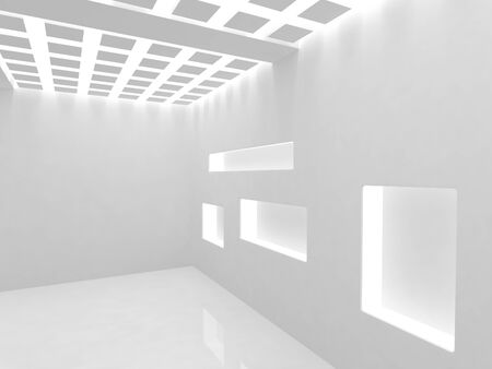 Empty modern shop with illumination shelf photo