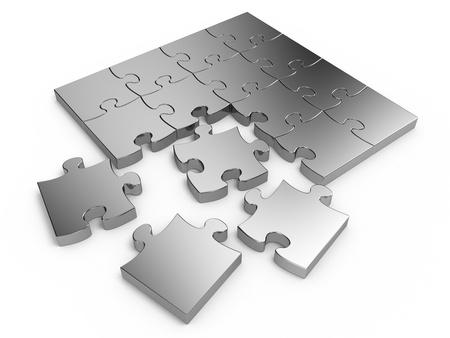 Jigsaw puzzle isolated on white background photo
