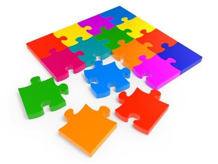 Colorful jigsaw puzzle isolated on white background photo