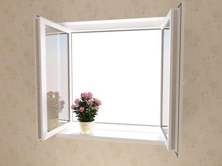 Opened plastic window in new room photo