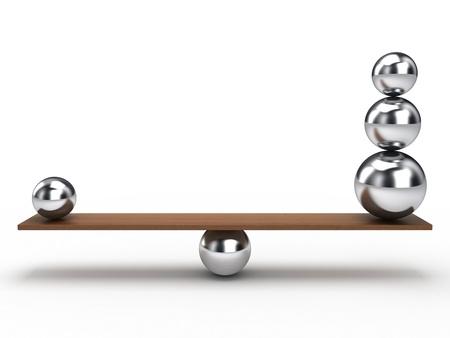 balanza: Equilibrio de bolas en la plancha de madera Foto de archivo