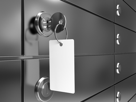 depository: Deposit box with key and blank label