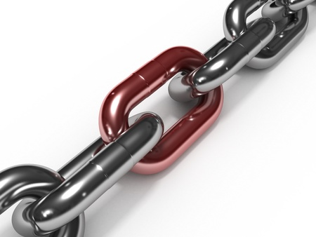 Iron chain with red link photo