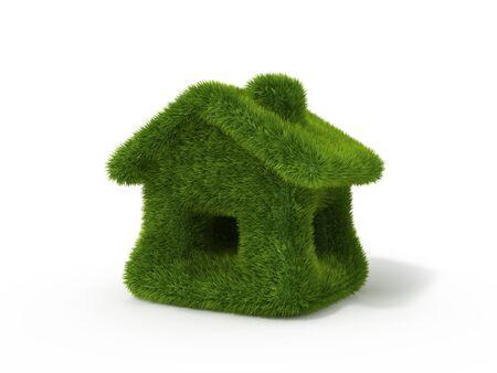 Green grass house. Ecology concept. photo
