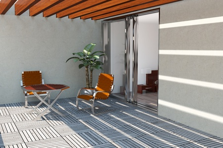 Hout pool dek op moderne huis terras