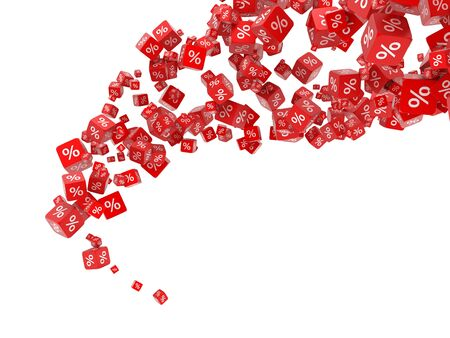 Falling red cubes with percent Stock Photo - 9325396