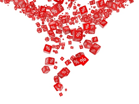 Falling red cubes with percent Stock Photo - 9325397