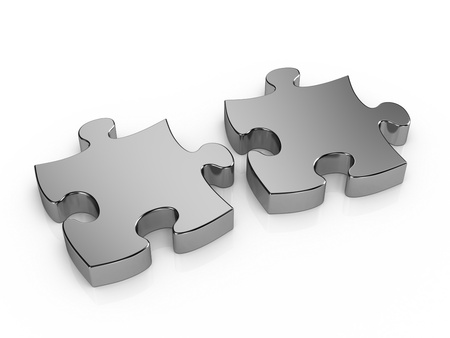Two pieces metal puzzle photo