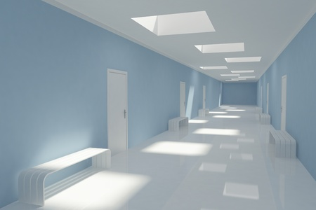 3D Modern long corridor in hospital photo