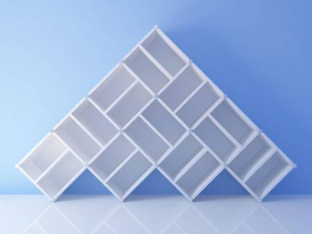 Empty bookshelf on the blue wall photo