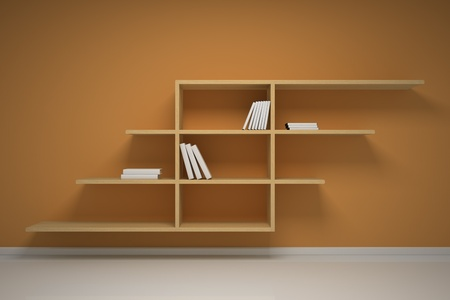 Bookshelf on the wall with books and dvd Stock Photo - 9473131