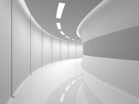 Modern illuminated long corridor photo