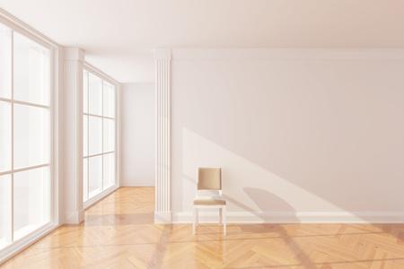 big window: Lege nieuwe kamer met groot raam