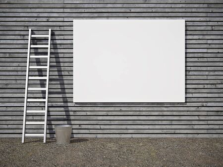 Blank street advertising billboard on wooden wall photo