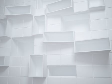 Abstract empty boxes in wall photo
