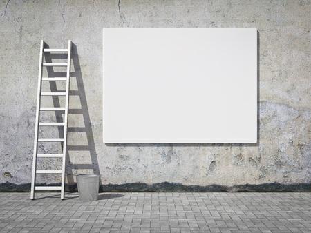 estuco: Billboard en blanco publicidad callejera en pared sucia grunge Foto de archivo
