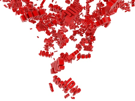 Falling red digit in percentage Stock Photo - 9807978