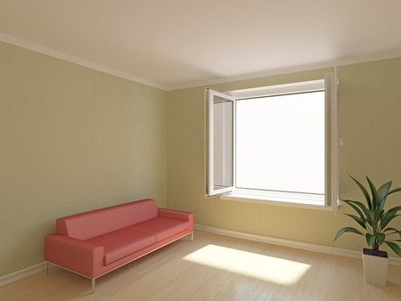 Open window in room with sofa Stock Photo - 9807991
