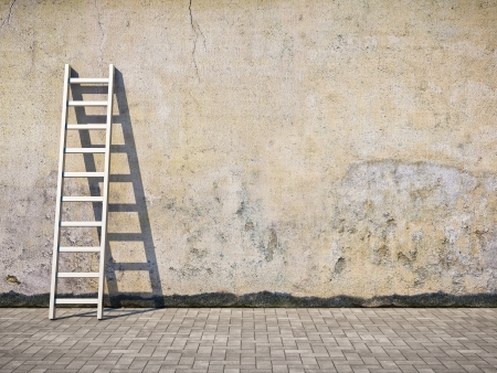 Blank dirty grunge wall with ladder photo