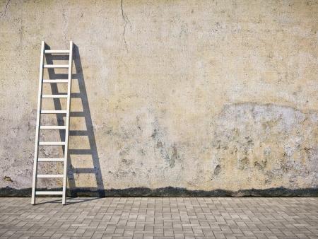 escaleras: Pared en blanco sucio grunge con escalera