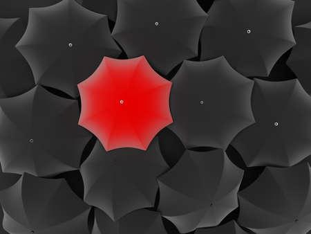 Many black umbrellas. One red unique umbrella. photo
