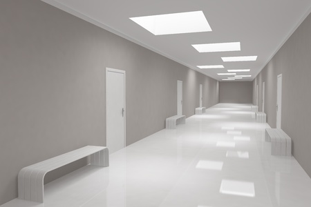 Modern long corridor with offices photo