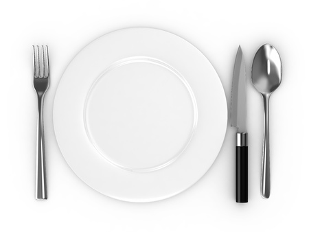 Empty plate with spoon, knife and fork photo