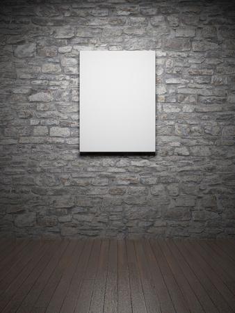 Blank empty frame on brick wall photo