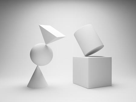 Balancing geometric shapes photo