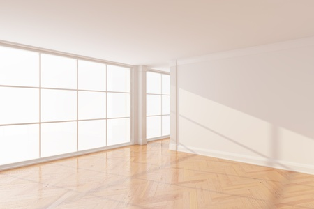 Empty new room with big window Stock Photo - 10148380