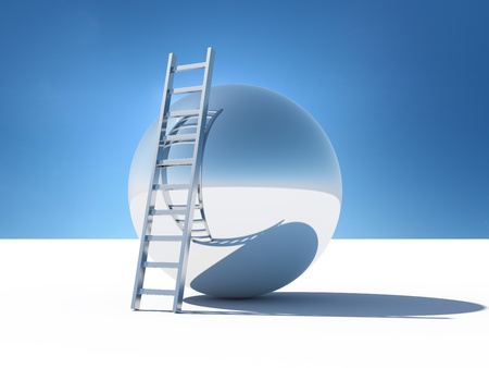 aspirational: Ladder over the abstract world of the sky Stock Photo