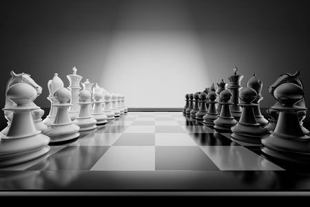 team strategy: Composition with chessmen on glossy chessboard