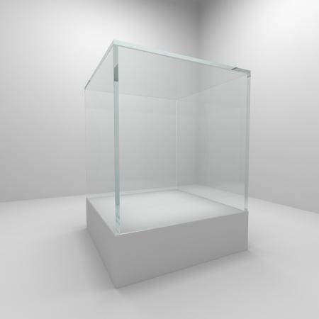 Vetrina di vetro vuota in camera