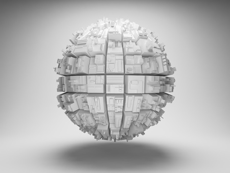 Sphere with abstract geometric shapes photo