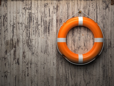 life styles: Lifebuoy attached to a wooden wall