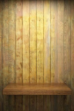 Illuminated empty shelf on wooden wall Stock Photo - 10148227