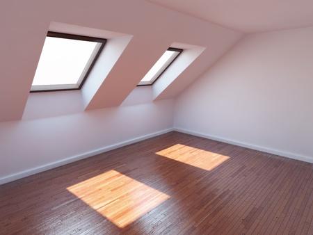 Empty new room with mansard windows