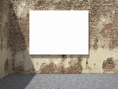 Blank street advertising billboard on dirty grunge wall Stock Photo - 10539416
